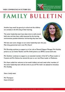 SET Maidstone & Causton School Weekly Family Bulletin